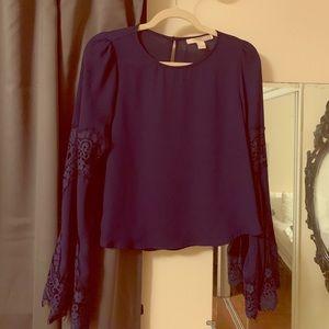 Forever 21 dark blue bell sleeve shirt